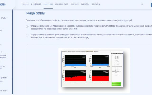 Разработка корпоративного сайта для НПО Техноап - страница описания продукции